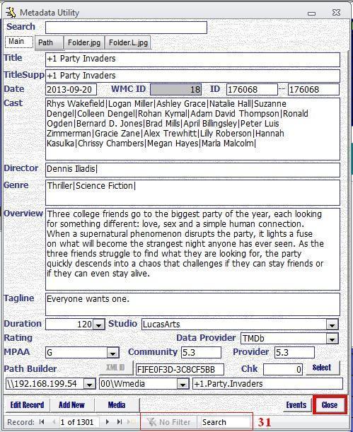 Metadata Utility – Main - Advanced Search