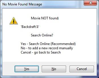 Metadata Utility – Messages - Movie Not Found