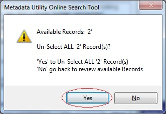 Metadata Utility – Messages - Select All Records