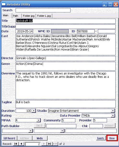 Metadata Utility – Main - Last Onine Search Queue