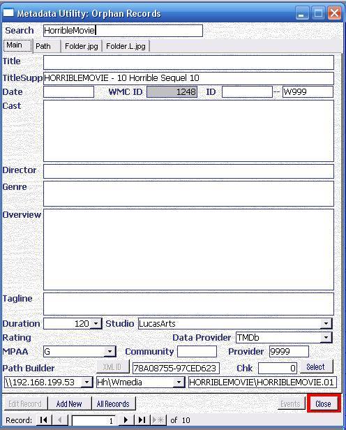 Metadata Utility – Main - Orphan Records Queue