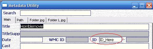 Metadata Utility – Main - Add Movie Manually - Enter New ID