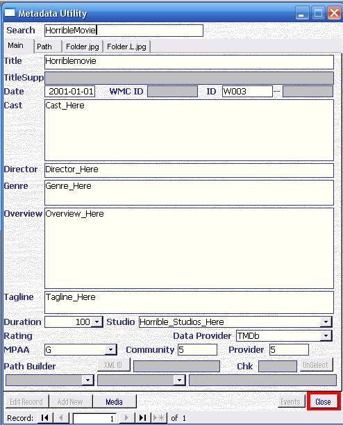 Metadata Utility – Main - Add Movie Manually - Enter Movie Information