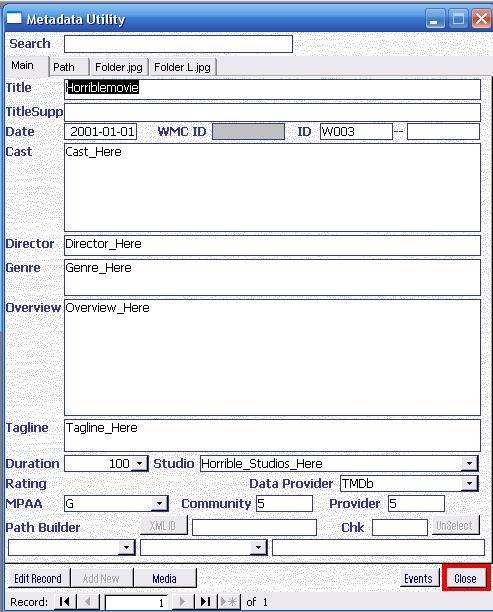 Metadata Utility – Main - Pending Records