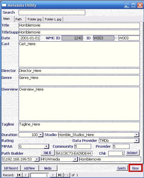 Metadata Utility – Main - Add Movie to Library