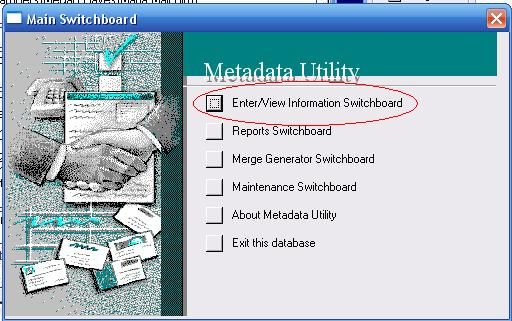 Metadata Utility – Main Switchboard