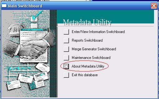 Metadata Utility – About Information