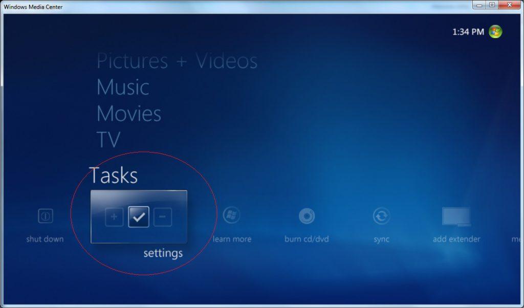 Windows Media Center - Settings