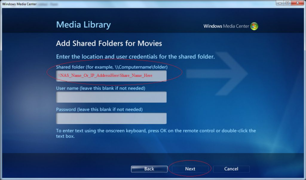 Windows Media Center - Settings - Media Library - Movies - Add Folders to the Library - Manually Choose - Add