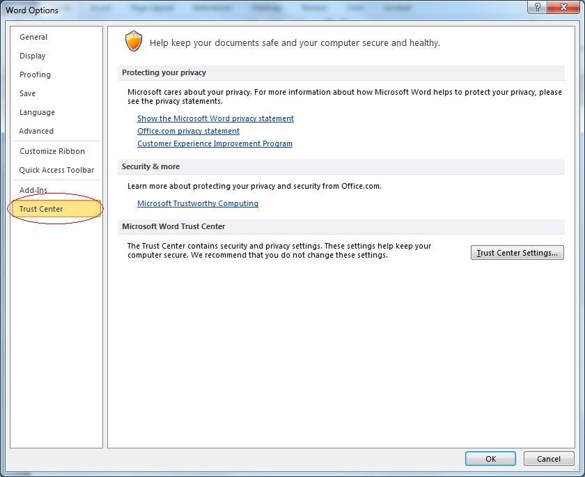 Microsoft Word - Options - Trust Center