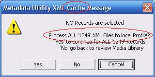 Metadata Utility – Messages - Cache