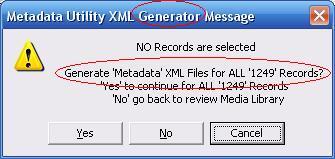 Metadata Utility – Messages - Generate