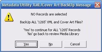 Metadata Utility – Messages - BackUp CoverArt - All