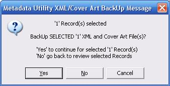 Metadata Utility – Messages - BackUp CoverArt - Specific Records