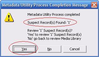 Metadata Utility – Messages - Suspect Records