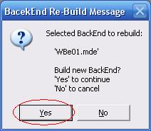 Metadata Utility – Messages - BackEnd BackUp Rebuild - Selected BackEnd