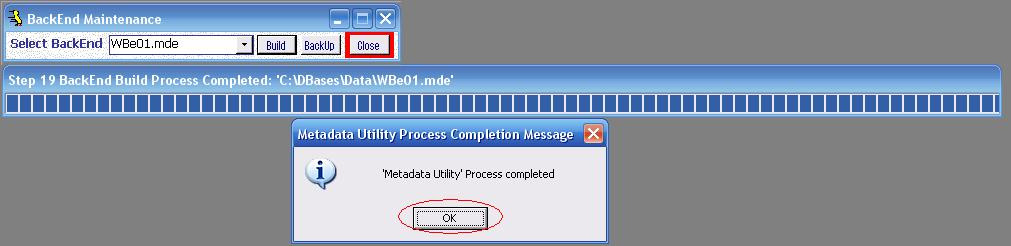 Metadata Utility – Messages - BackEnd BackUp Rebuild - Selected BackEnd - Completed