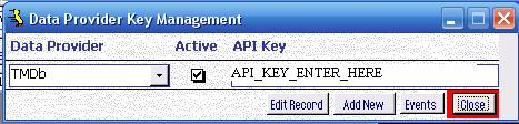 Metadata Utility – Data Provider API Key Maintenance