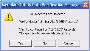 Metadata Utility - Mesages – Resource Verification - All Records