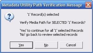 Metadata Utility - Mesages – Resource Verification - Selected Records