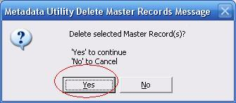 Metadata Utility – Messages - Delete Master Records