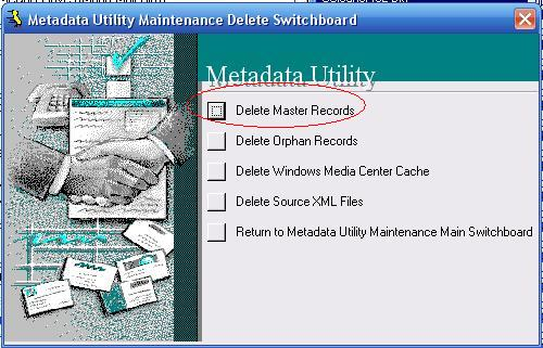 Metadata Utility – Maintenance Switchboard - Delete Switchboard - Delete Master Records