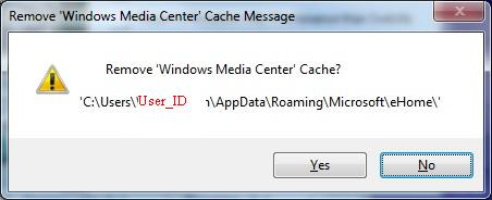Metadata Utility – Messages - Delete Windows Media Center Cache