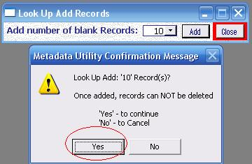 Metadata Utility - Messages – Add New Look Up Records