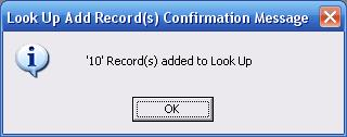 Metadata Utility - Messages – Add New Look Up Records - Confirmation