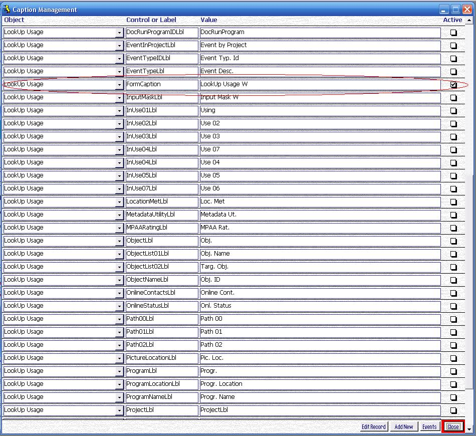 Metadata Utility – Maintenance Switchboard - LookUp Maintenance Switchboard - Caption Management