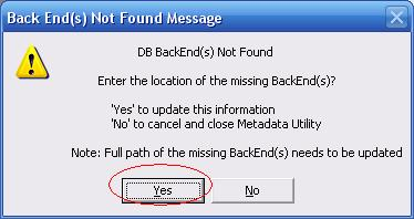 Metadata Utility – Messages - BackEnd Not Found