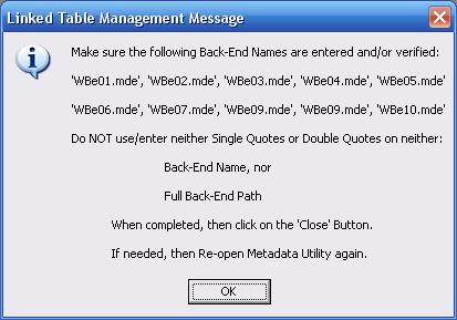Metadata Utility – Messages - Linked Table Management