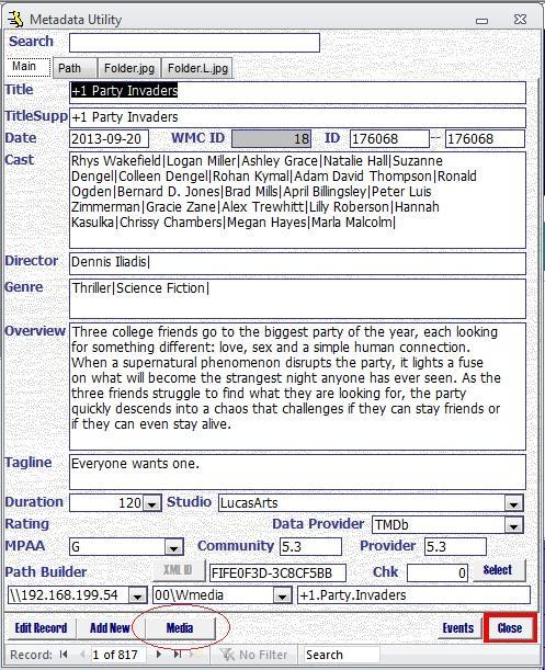 Metadata Utility – Main