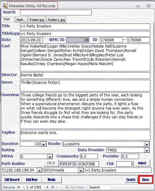 Metadata Utility – Main - All Records
