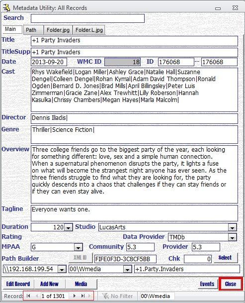 Metadata Utility – Main - Navigation Buttons