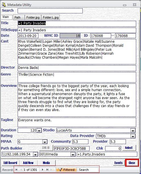 Metadata Utility – Main - Advanced - Filters - Result