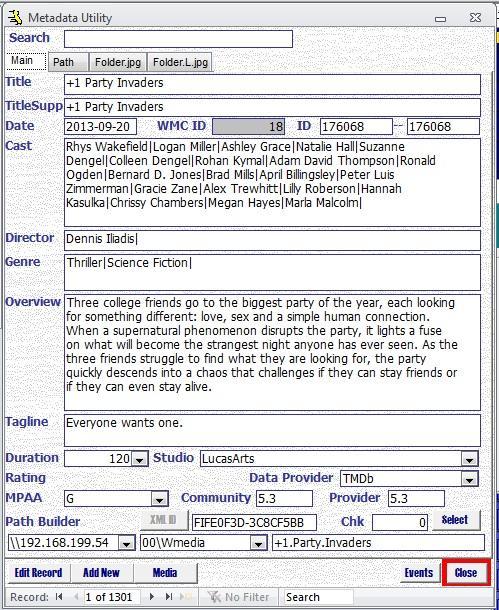 Metadata Utility – Main - Advanced - Filters