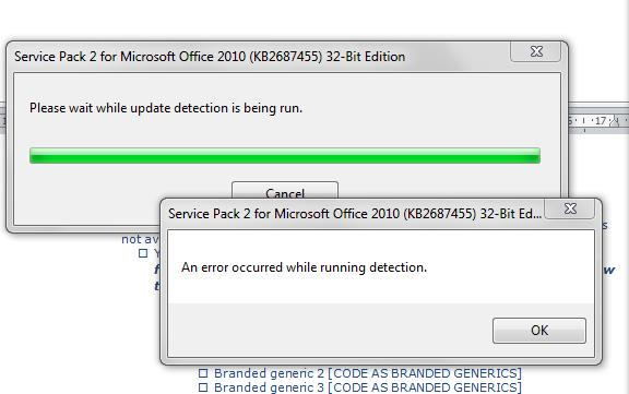 Microsoft Office - Error - SP2 During Detection