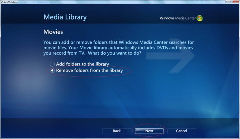 Windows Media Center - Settings - Media Library - Movies